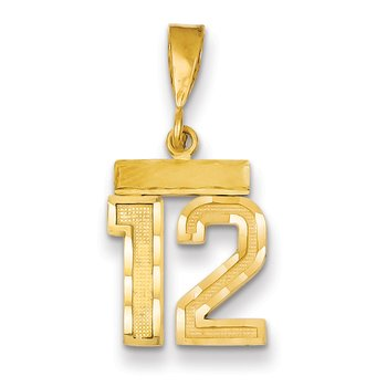 14k Small Diamond-cut Number 12 Charm