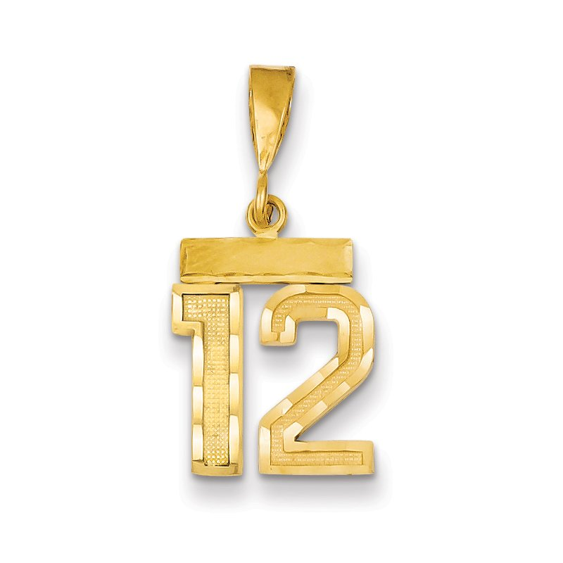 Quality Gold 14k Small Diamond-cut Number 12 Charm