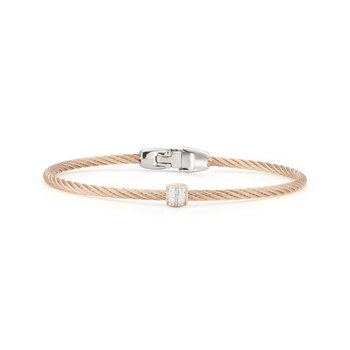 Carnation Cable Single Barrel Station Stackable Bracelet with 18kt Rose Gold & Diamonds