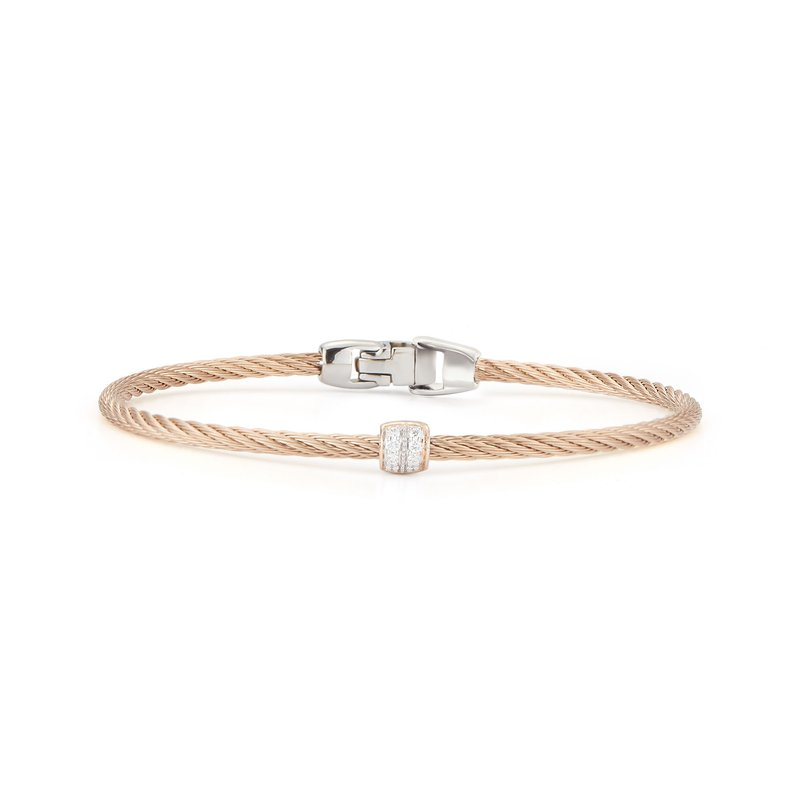 ALOR Carnation Cable Single Barrel Station Stackable Bracelet with 18kt Rose Gold & Diamonds
