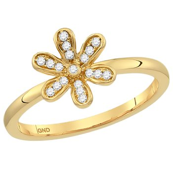 14kt Yellow Gold Womens Round Diamond Flower Floral Stackable Band Ring 1/8 Cttw
