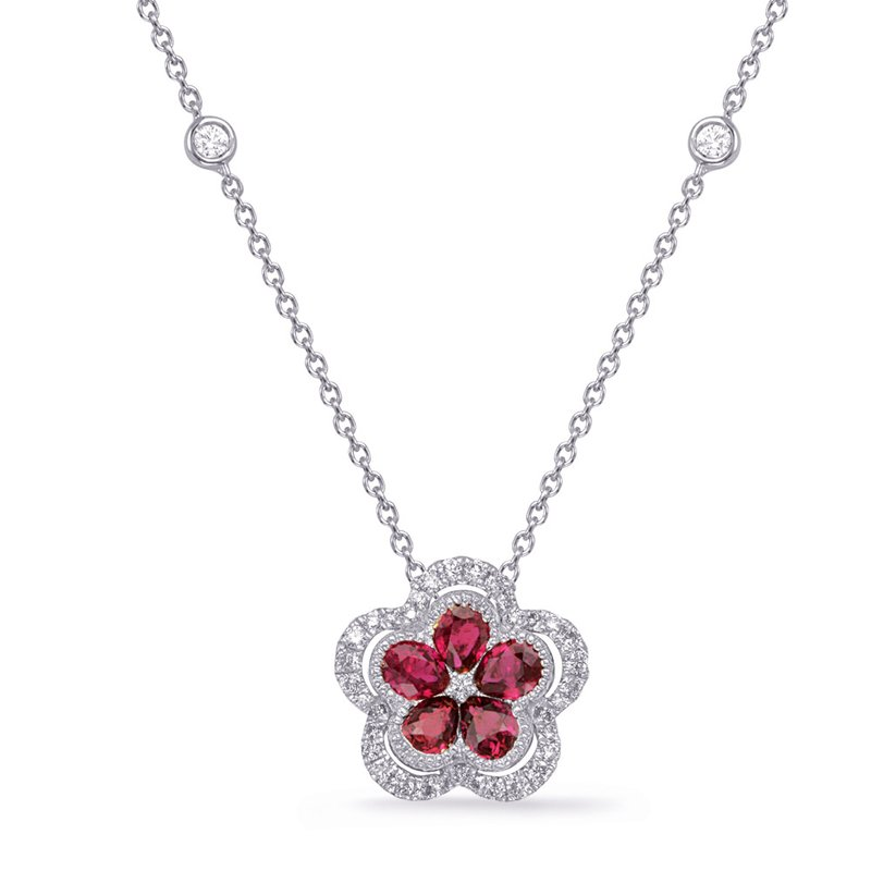 S. Kashi  & Sons White Gold Diamond & Ruby Necklace