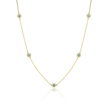 5-Station Petite Gemstone Necklace with London Blue Topaz