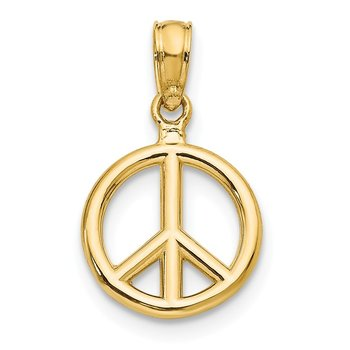 14K Polished Peace Symbol Pendant