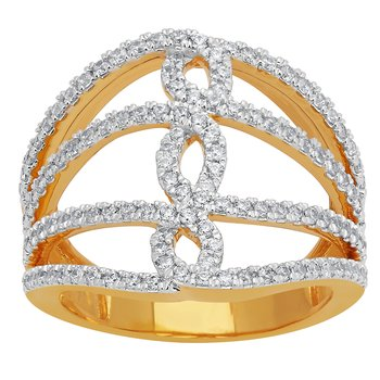 14KY 3/4CTW RIGHT HAND FASHION RING