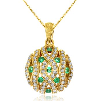 14k Yellow Gold Emerald Pave Round Pendant