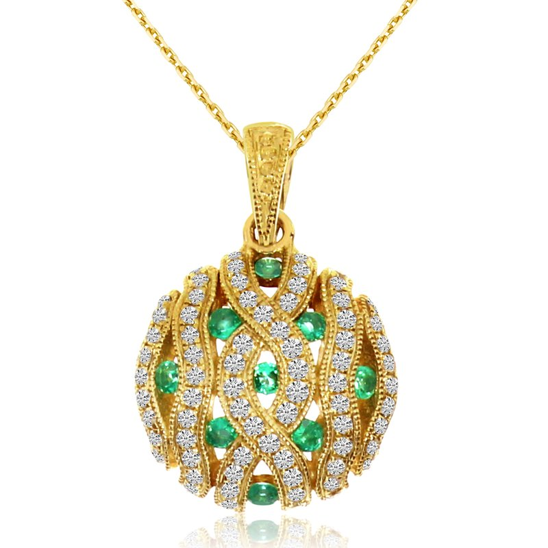 Color Merchants 14k Yellow Gold Emerald Pave Round Pendant