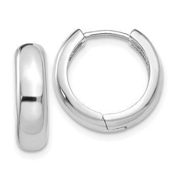 14k White Gold Round Hinged Hoop Earrings
