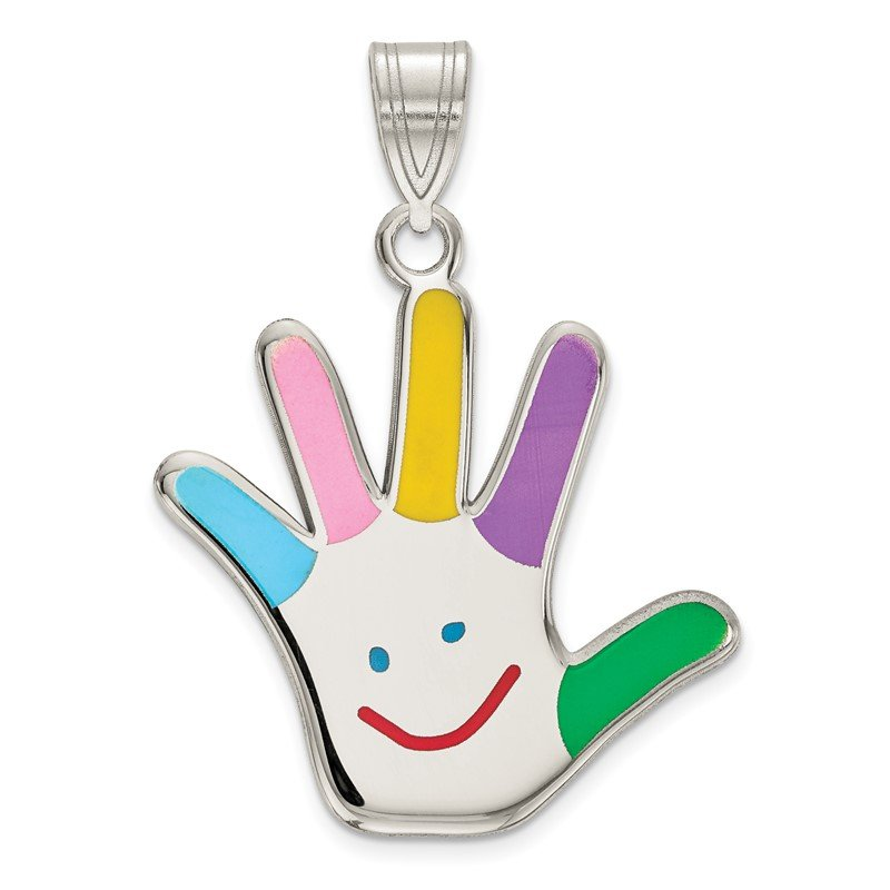 Quality Gold Sterling Silver Rhod-plate Enamel Autism w/Happy Face Handprint Pendant