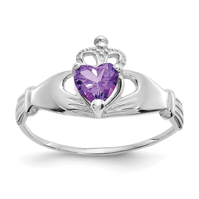 Quality Gold 14k White Gold CZ February Birthstone Claddagh Heart Ring