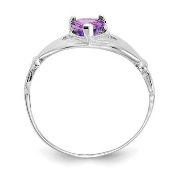 14k White Gold CZ February Birthstone Claddagh Heart Ring