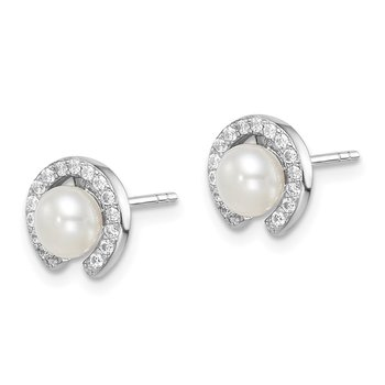 Sterling Silver Rhod-plat 5-6mm White Button FWC Pearl CZ Earrings