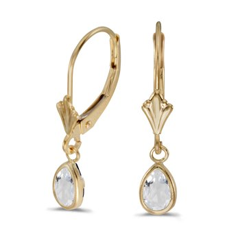 14k Yellow Gold Pear White Topaz Bezel Lever-back Earrings