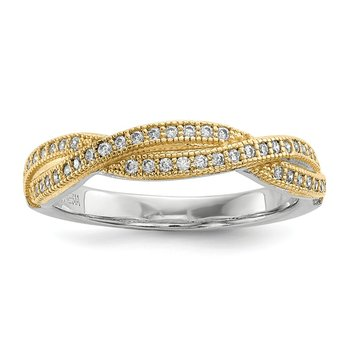 Sterling Silver Gold-plated CZ Brilliant Embers Polished Ring