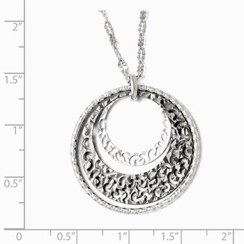 Leslie's Sterling Silver Ruthenium-plated w/2in ext. Necklace