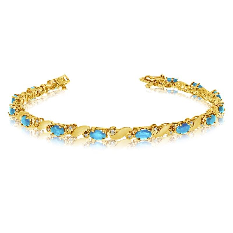 Color Merchants 14k Yellow Gold Natural Aquamarine And Diamond Tennis Bracelet