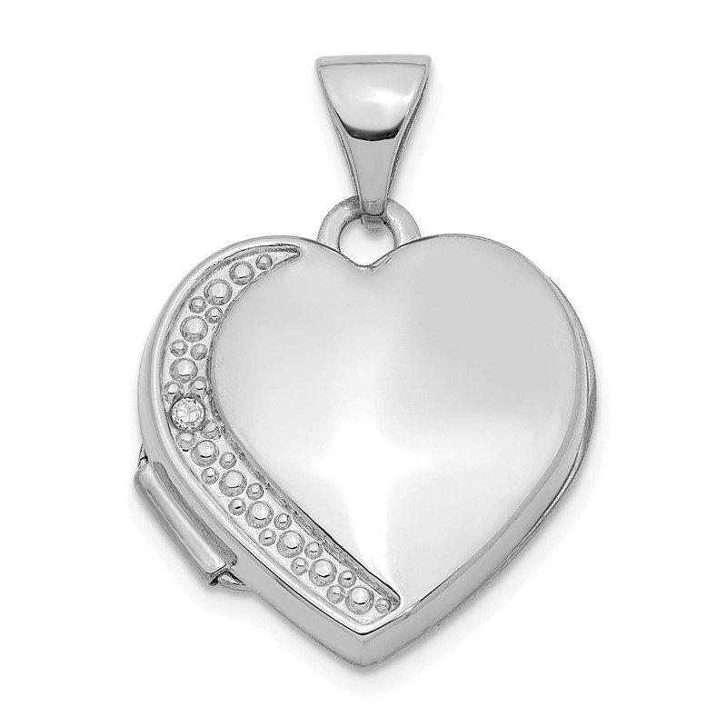 Quality Gold 14K Diamond 16mm Heart Locket Pendant