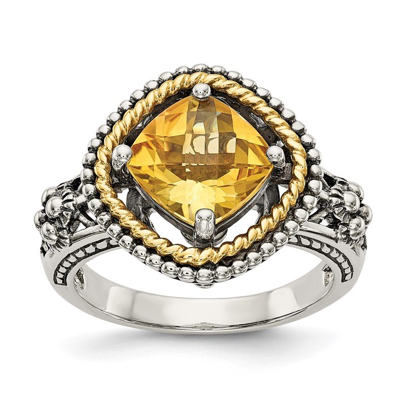 Quality Gold Sterling Silver w/14k Citrine Ring