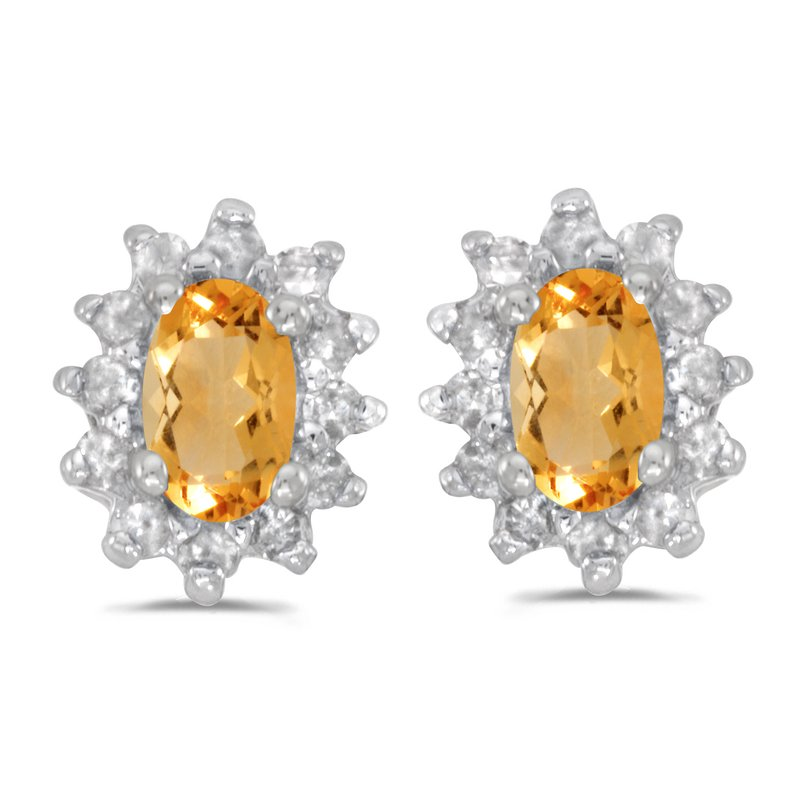 Color Merchants 10k White Gold Oval Citrine And Diamond Earrings