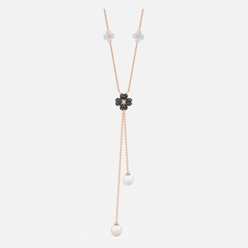 Latisha Y Necklace, Black, Rose-gold tone plated