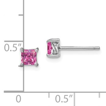 Sterling Silver 4mm Princess Created Pink Sapphire Post Earrings