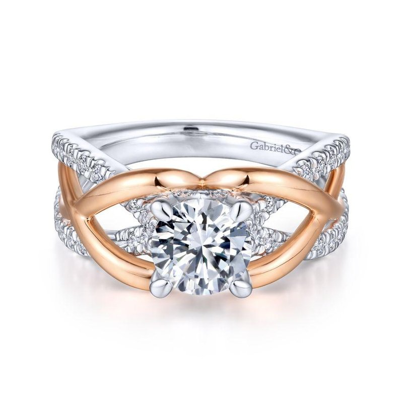 Gabriel Bridal Top Picks 14K White-Rose Gold Round Diamond Engagement Ring
