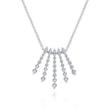14K White Gold Diamond Fan Necklace