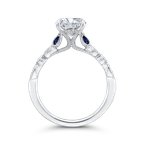 Carizza 14K White Gold Round Diamond Engagement Ring with Sapphire (Semi-Mount)