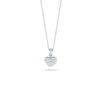 18KT GOLD PUFFED HEART PENDANT WITH DIAMONDS