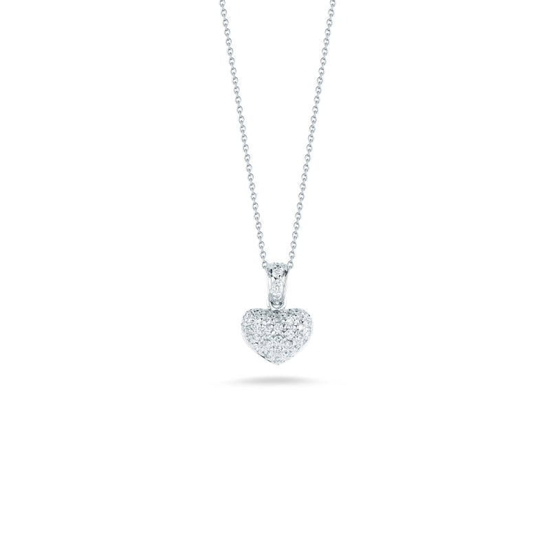 Roberto Coin 18KT GOLD PUFFED HEART PENDANT WITH DIAMONDS