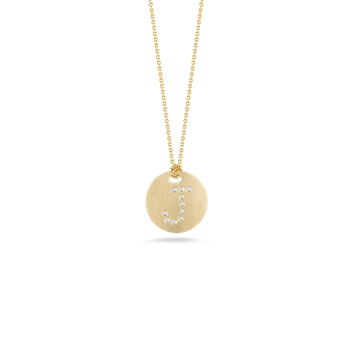 18KT GOLD DISC PENDANT WITH DIAMOND INITIAL J