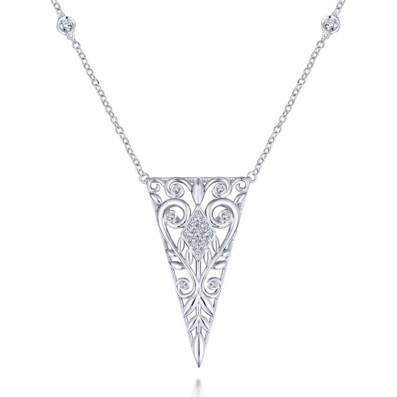 Gabriel Fashion 925 Sterling Silver Scrollwork Triangular Vintage Inspired White Sapphire Pendant Necklace