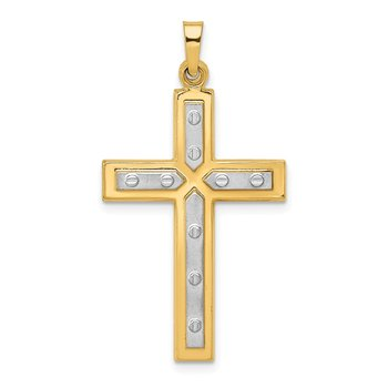 14K W/Rhodium Polished and Satin Cross Pendant