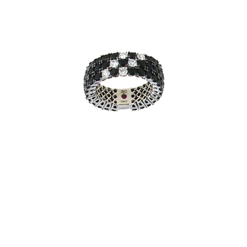 18Kt Gold Black Sapphire And White Diamonds Flex Ring