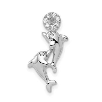 Sterling Silver Rhodium-plated Crystal Dolphins Chain Slide