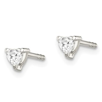 Sterling Silver 3mm Heart Basket Set CZ Stud Earrings