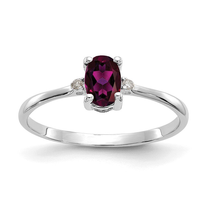 Quality Gold 10k WG Polished Geniune Diamond/Rhodolite Garnet Birthstone Ring