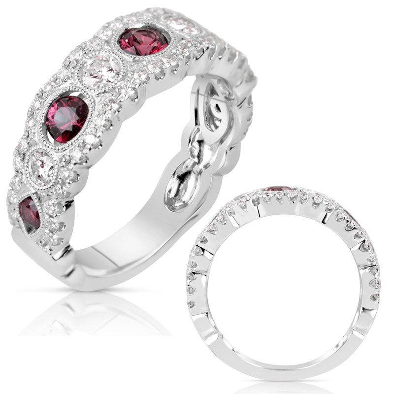 S. Kashi  & Sons White Gold Ruby & Diamond Band