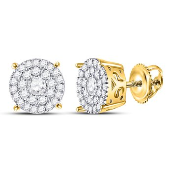 10kt Yellow Gold Womens Round Diamond Concentric Circle Cluster Earrings 3/8 Cttw
