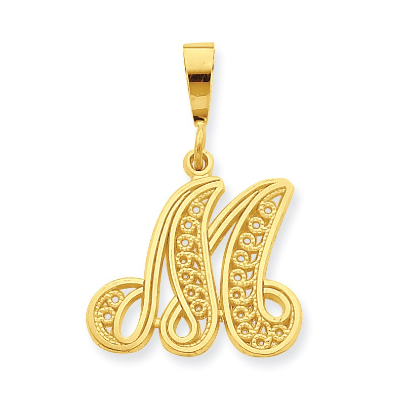 Quality Gold 10k Initial M Pendant