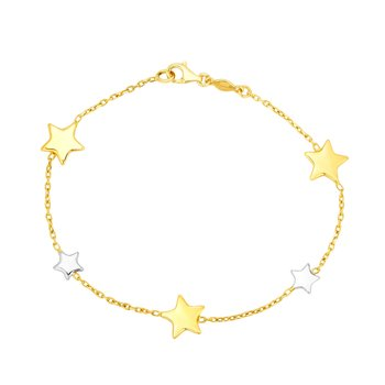 14K Gold Star Station Bracelet