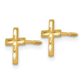 14k Madi K Diamond Cut Cross Earrings