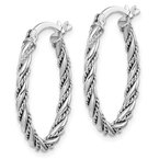 Quality Gold Sterling Silver Rhodium-plated 2.5mm Twisted Oval Hoop Earrings