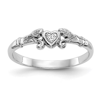 14K White Gold Textured Mini Heart Baby Ring