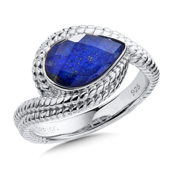 Sterling Silvers Quartz & Lapis Ring