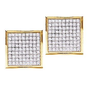 14kt Yellow Gold Womens Round Pave-set Diamond Square Cluster Earrings 1/2 Cttw