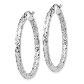 Sterling Silver Rhodium-plated Textured 3x35mm Hoop Earrings
