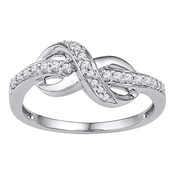 10kt White Gold Womens Round Diamond Infinity Ring 1/6 Cttw