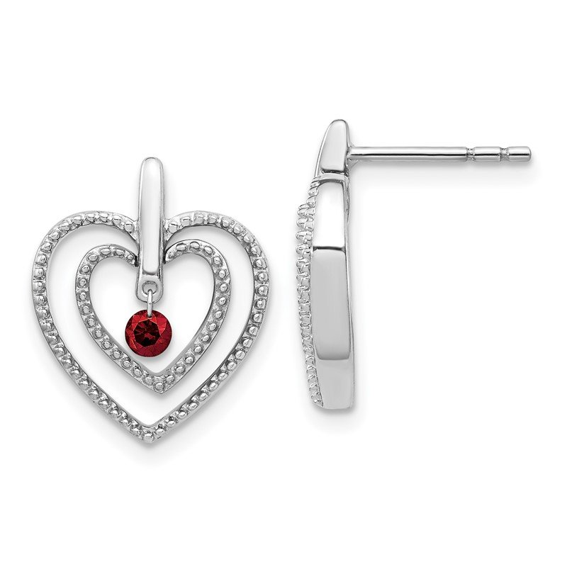 Quality Gold 14k White Gold Red Diamond Heart Post Earrings