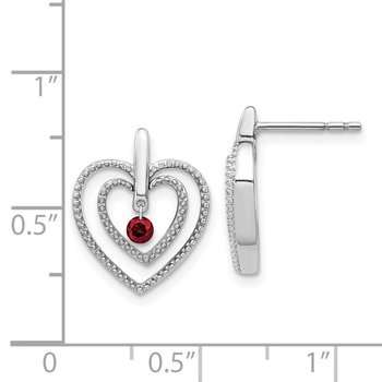 14k White Gold Red Diamond Heart Post Earrings